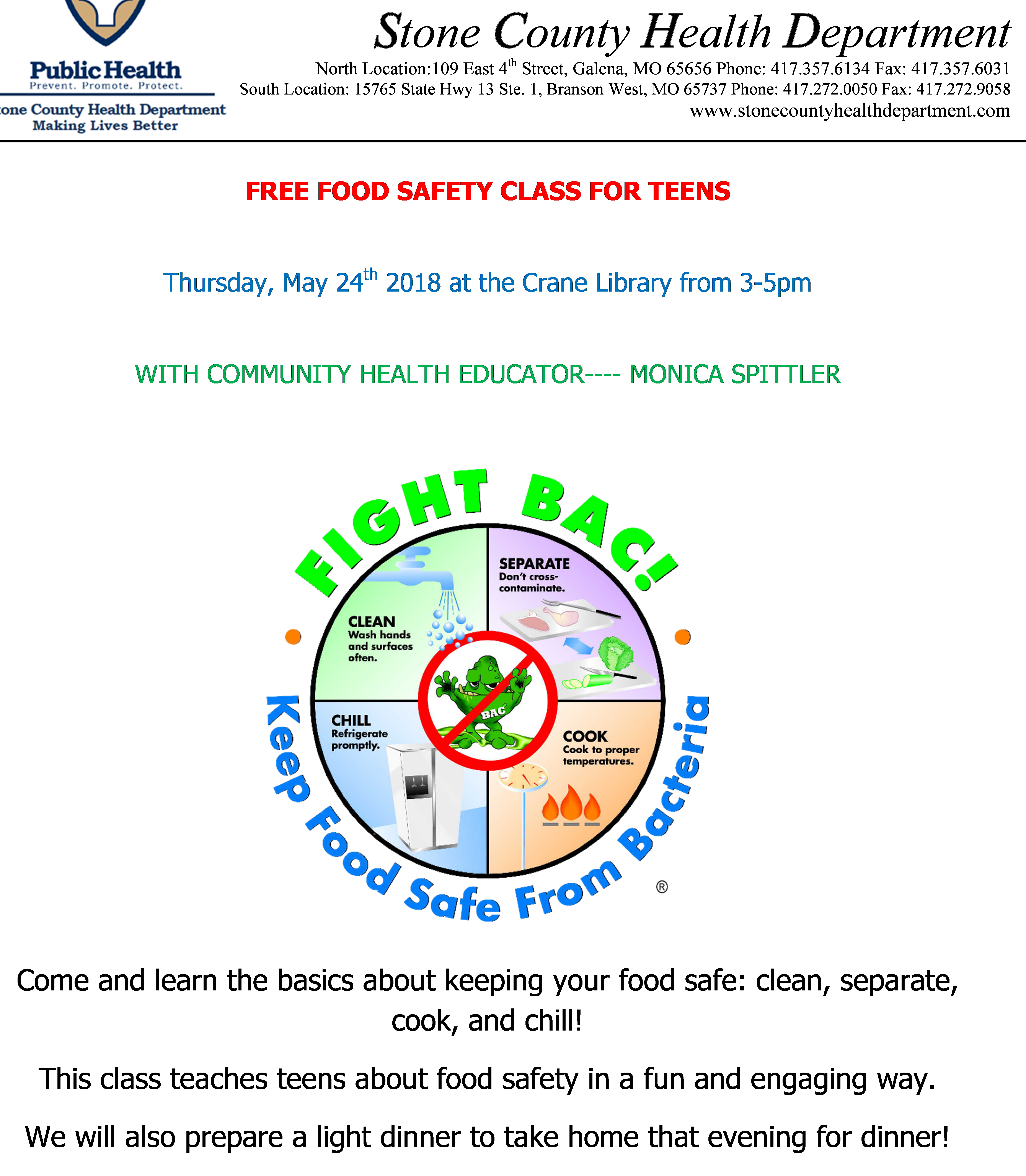 Free Food Safety Class For Teens - Stone County Health